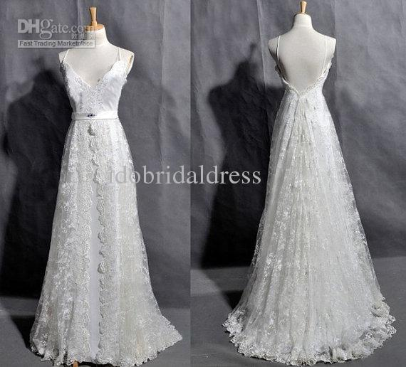 Discount Vintage Inspired Lace Wedding Dress Bridal Gown Deep V