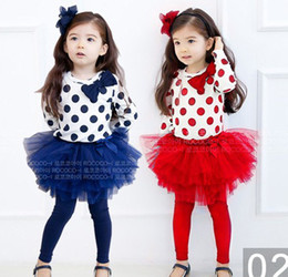 Wholesale Gauze T Shirt - baby girl's dress suit 2pcs set bow wave dot long-sleeved T-shirt + Net yarn gauze skirt legging 5P