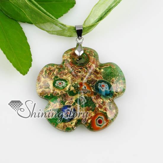 new arrive flower glitter millefiori murano lampwork Italian handmade glass necklaces pendants Fashion jewelry necklace mup159