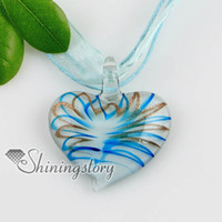 Wholesale Italian Style Necklaces - 2013 new style heart glitter lampwork murano Italian handmade glass necklaces pendants jewelry handcraft jewelry Mup163