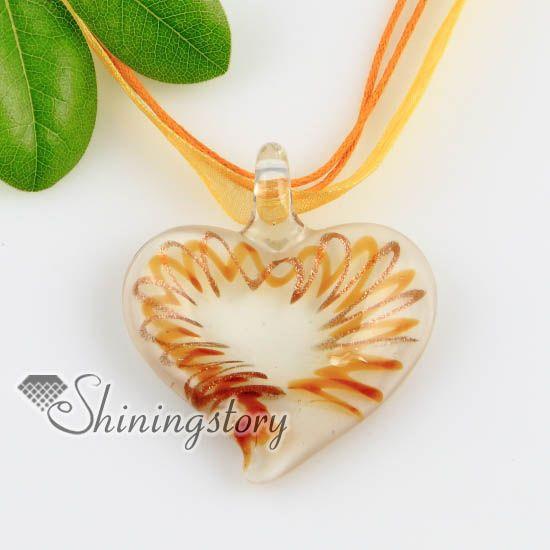 2013 nouveau style coeur glitter murano italien colliers de verre fait main pendentifs bijoux bijoux artisanaux Mup163
