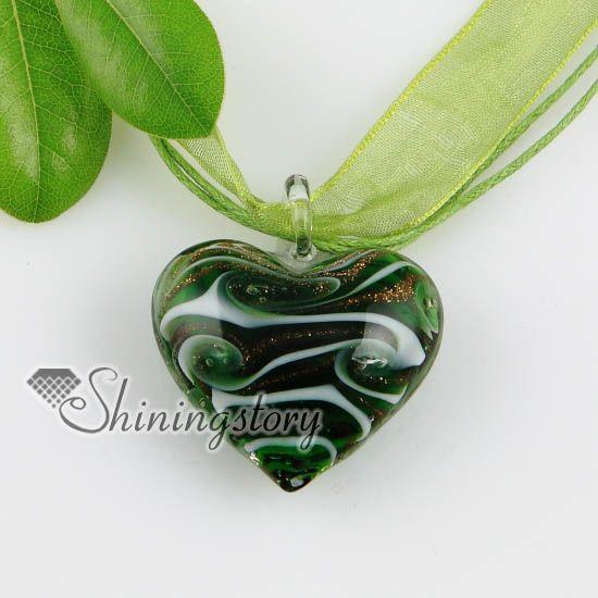 coeur paillettes swirled modèle murano italien vénitien colliers de verre fait main pendentifs pas cher bijoux de mode Mup165