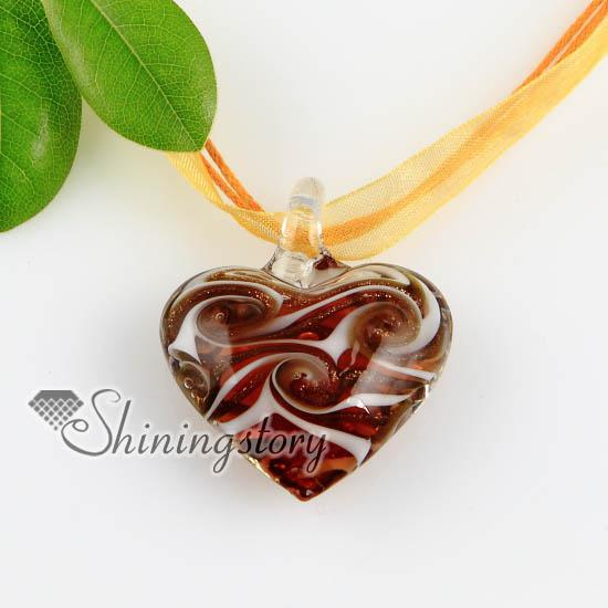 Corazón brillo patrón arremolinado murano italiano veneciano hecho a mano collares de cristal colgantes joyas de moda barata Mup165