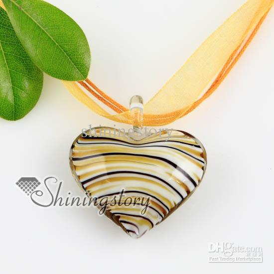 Coração com linhas lampwork murano veneziano Italiano vidro feito à mão colares pingentes barato moda jóias Mup166