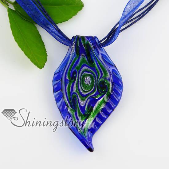 leaf silver foil swirled pattern glass necklace pendant Cheap fashion jewelry cheap china fashion jewellery Mup168