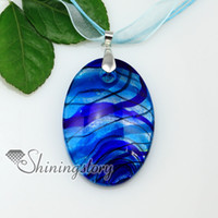 Wholesale Oval Glass Pendant - oval with lines silver foil murano glass pendant murano glass jewelry Fashion necklace Mup173