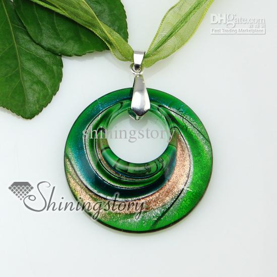 Rodada glitter rodado padrão lampwork murano veneziano handmade vidro colares pingentes barato china jóias moda mup175