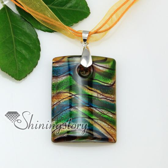 oblong with lines silver foil lampwork Italian handmade murano glass necklaces pendants jewelry cheap fashion jewellery Mup176