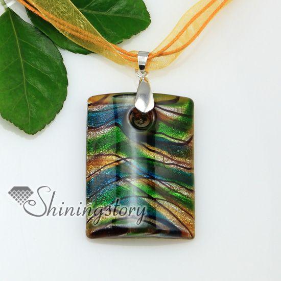 Oblongo com linhas de folha de prata lampwork italiano artesanal murano vidro colares pingentes jóias barato moda jóias Mup176