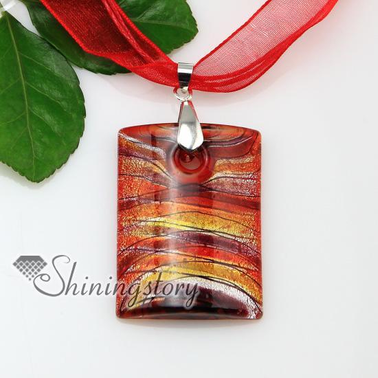 länglich mit linien silberfolie lampwork italienische handgefertigte murano-glas halsketten anhänger schmuck billig modeschmuck