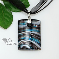 Wholesale Cheap Glass Necklaces - oblong with lines silver foil lampwork Italian handmade murano glass necklaces pendants jewelry cheap fashion jewellery Mup176
