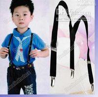 Wholesale Shoulder Brace Sale - Hot Sale Children Clip-on Adjustable Pants Y-back Suspender Braces Elastic Kids Black