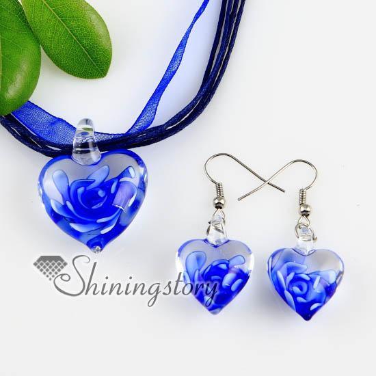 heart with flowers inside lampwork murano Italian venetian glass fashion pendants and earrings jewelry handmade fashion jewelry Mus46