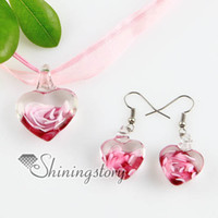Wholesale Earring Murano - heart with flowers inside lampwork murano Italian venetian glass fashion pendants and earrings jewelry handmade fashion jewelry Mus46
