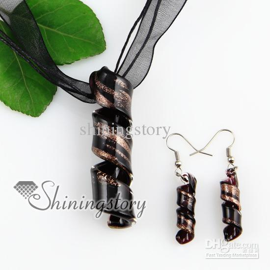 twist glitter lampwork murano Italian venetian handmade glass pendants and earrings jewellery sets cheap fashion jewelry Mus049