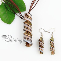 Wholesale Fashion Cheap Handmade Earrings - twist glitter lampwork murano Italian venetian handmade glass pendants and earrings jewellery sets cheap fashion jewelry Mus049