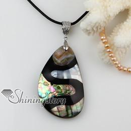 Porcellana di gioielli di perle online-ciondolo conchiglia ovale trapezoidale madreperla madreperla conchiglia collana Mop11087 economici cina moda gioielli