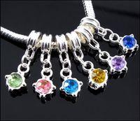 gran colgante de cristal al por mayor-60 unids / lote Cuelga Cumpleaños Crystal Rhinestone Colgante de Plata Encantos Granos Del Agujero Apto Pulsera Europea Del Encanto de La Joyería DIY