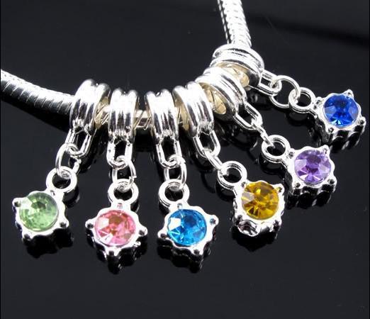 60 pçs / lote Dangle Aniversário Cristal Rhinestone Pingente de Prata Charms Big Hole Beads Fit Charme Europeu Pulseira Jóias DIY