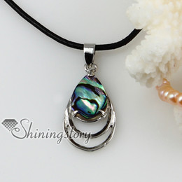 Mother Pearl Sea Canada - teardrop patchwork openwork sea water rainbow abalone shell mother of pearl pendants leather necklaces Mop50085