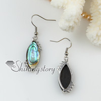 Wholesale Earrings Oyster Shell - new olive seawater rainbow abalone black oyster Shell mother of pearland rhinestone dangle earrings