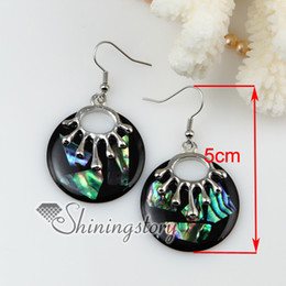 Wholesale Olive Oval - oval round olive patchwork seawater rainbow abalone Shell mother of pearl dangle earrings jewelry