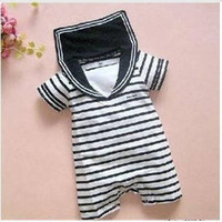 Wholesale Stripes Navy Romper - Baby romper infant rompers boy's girl's Wear Stripes baby navy suit   Sailor Romper baby's clothes