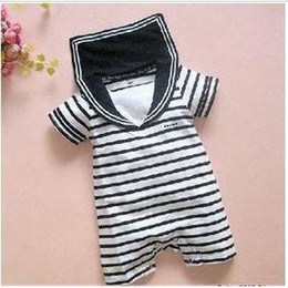 Wholesale White Sailor Suit - Baby romper infant rompers boy's girl's Wear Stripes baby navy suit   Sailor Romper baby's clothes