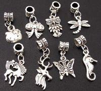 Wholesale Wholesale Horse Beads Jewelry - 120pcs lot Tibetan Silver Owls Horses Big Hole Alloy Charm Beads Fit European Charm Bracelet Jewelry DIY 120pcs lot