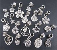 Wholesale Tibetan Silver Halloween Charms - 190pcs lot Flowers Dangle Alloy Big Hole Beads Tibetan Silver Fit European Charm Bracelet Jewelry DIY