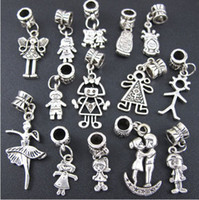 140pcs / lot Boy And Girl Dangle Big Hole Beads Tibetan Silver Fit European Charm Bracelet Jóias DIY