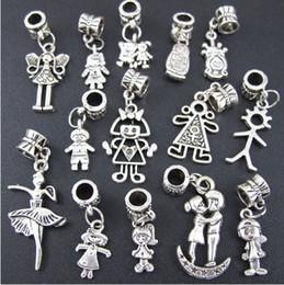 Wholesale Fits Tv - 140pcs lot Boy And Girl Dangle Big Hole Beads Tibetan Silver Fit European Charm Bracelet Jewelry DIY