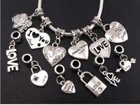 Wholesale diy online - 120pcs Mix Tibetan Silver LOVE Heart Big Hole Beads Fit European Charm Bracelets Jewelry DIY B319 B945