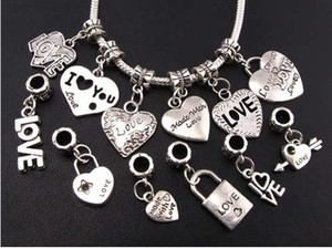 Wholesale bracelets charms resale online - 120pcs Mix Tibetan Silver LOVE Heart Big Hole Beads Fit European Charm Bracelets Jewelry DIY B319 B945