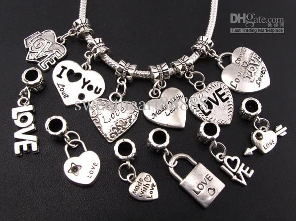 120 pçs / lote Mix Tibetano Prata AMOR / Coração Big Hole Beads Fit Charme Europeu Pulseiras Jóias DIY B319-B945