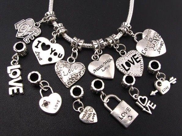/ Mélange Tibétain Argent AMOUR / Coeur Grand Trou Perles Fit Charme Européen Bracelets Bijoux DIY B319-B945