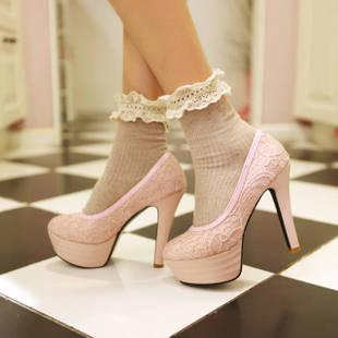 df69b13e19ae Gril Lady White Black PINK Lace High Heeled Shoes Women s Dance Bridesmaid  Princess Dress Shoes Oxford Shoes Ladies Shoes From Goodluck2015