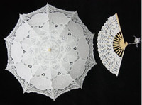 Wholesale Ladies Black Parasol - Pure Cotton Lace Embroidery Ladies Parasol Bridal Wedding Umbrella and hand fan 8 styles NEW
