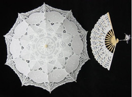 Wholesale Black Lace Fan Red - Pure Cotton Lace Embroidery Ladies Parasol Bridal Wedding Umbrella and hand fan 8 styles NEW