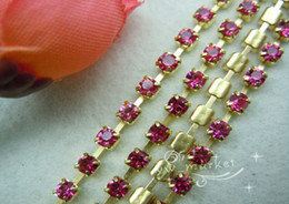 Wholesale Close Trimmer - SS8 Purple Red Crystal Rhinestone Close Chain Trims Brass 50 meters (001615)