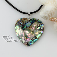 Wholesale Wholesale Abalone Pendants - heart patchwork sea water rainbow abalone shell mother of pearl pendants leather necklaces jewelry
