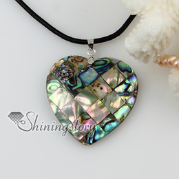 Wholesale Shell Pendant Heart - heart patchwork sea water rainbow abalone shell mother of pearl pendants leather necklaces jewelry
