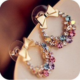 Wholesale Nice Colorful Jewelry - New Stud Earrings Fashion Jewelry Women Exquisite Colorful Rhinestone Bow Earrings Pretty Nice Gift Women Love High Quality