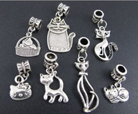 Wholesale Tibetan Charms Cats - 140pcs lot Tibetan Silver Mix Cat Kitty Big Hole Alloy Charm Beads Fit European Bracelet Jewelry DIY 140pcs lot