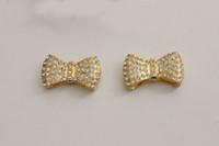 Wholesale Sideways Bow Tie - Fashion HOT DIY 20PCS Gold Plated SideWays Crystal Rhinestones Pave Bow Tie Bracelets Charm Beads