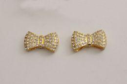 Wholesale Rhinestone Bow Sideways - Fashion HOT DIY 20PCS Gold Plated SideWays Crystal Rhinestones Pave Bow Tie Bracelets Charm Beads