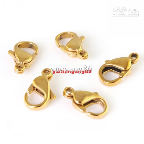 30 pcs 15mm bom polimento de aço Inoxidável banhado a lagosta fechos de jóias acessórios.