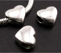 Wholesale Big Flat Beads - 100pcs lot Tibetan Silver Smooth Big Hole Beads Fit European Charm Bracelet L1304 11.5x11x7.8 mm