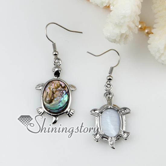 new arrive animal sea turtle dolphin seawater rainbow abalone shell mother of pearl earrings