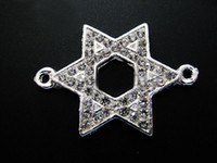 Wholesale Shaped Rhinestone Connector - silver Plated White Crystal Rhinestones Stars Shape   star of david Connector Beads making Bracelet